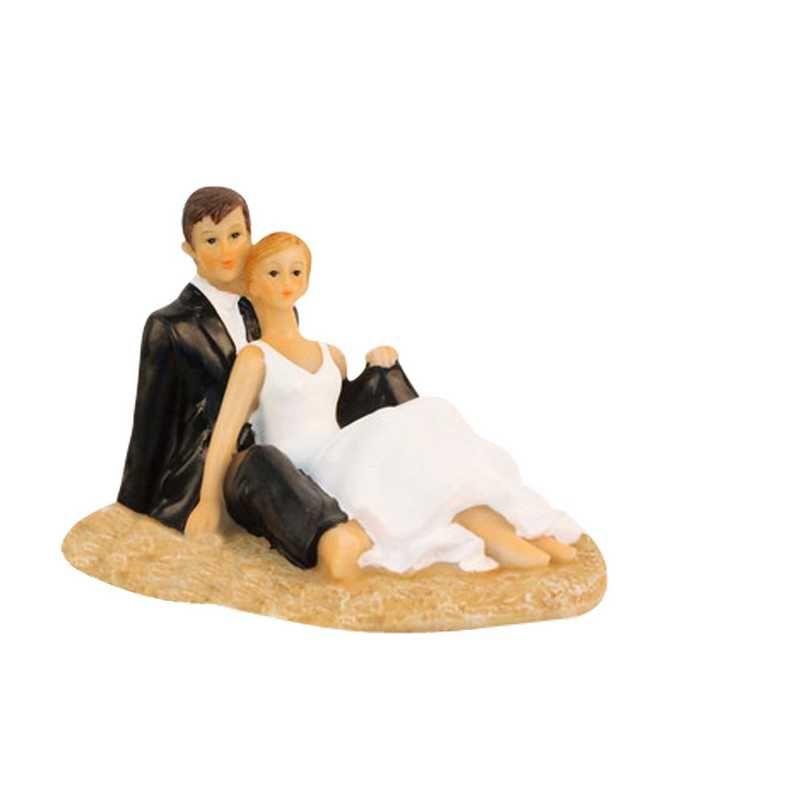 Couple de mariés fantaisie dans le cadre 14 x 8 x 6 cm - par 6 lots