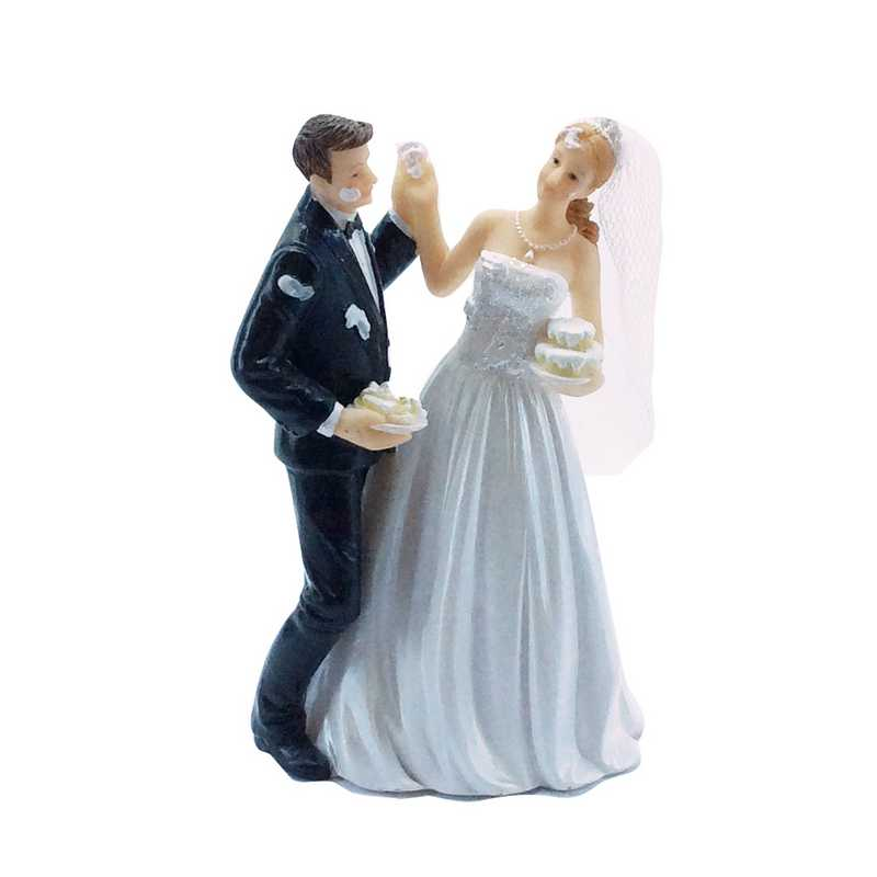 Couple de maries fantaisie part du gateau 13,4 x 8,4 x 5,7 cm - par 6 lots