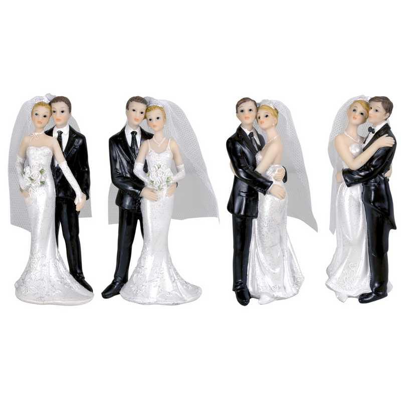 Couple de mariés 4 modèles assortis 2,7 x 4,5 x 12 cm - par 6 lots de 1