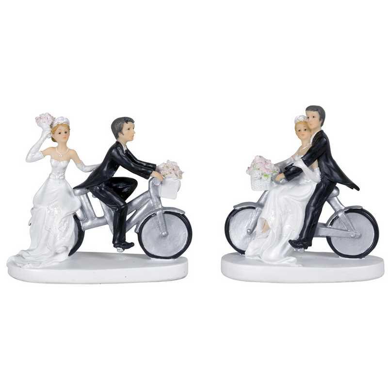 Couple de mariés a vélo 11,5 x 5 x 13 cm 2 mods ass - par 6 lots de 1