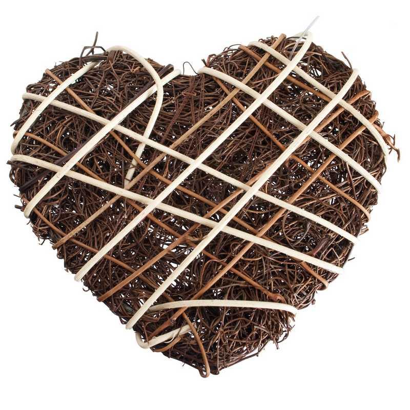 Coeurs de paille gm chocolat 12 cm - par 6 lots de 2