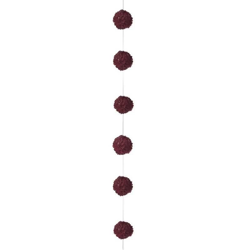 1 guirlande 6 fleurs papier de soie 3,5 m cyclamen (photo)