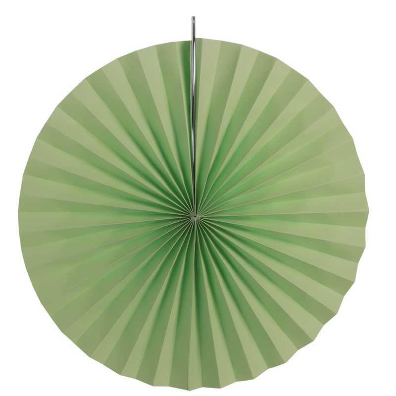 Eventails en papier cartonné coloris jade ø 30, 40 et 50 cm - par 6 lots de 3