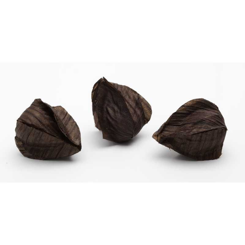 16 boutons de physalis tissu chocolat ø 2,5 x l 3 (photo)