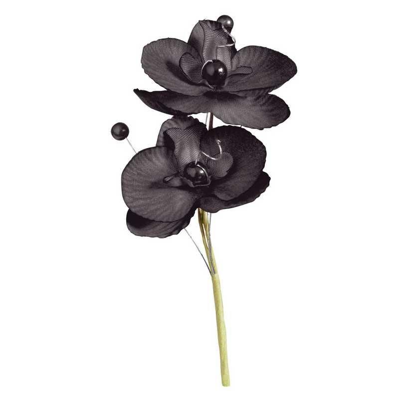 Double orchidées royales noires hauteur 12 cm - par 12 lots de 6