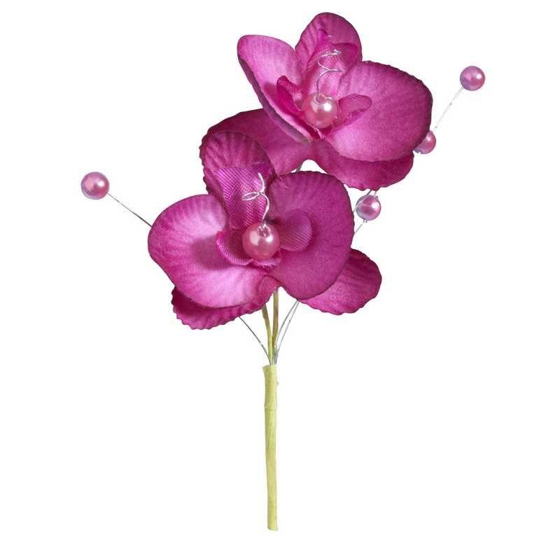 Double orchidées royales fuchsia hauteur 12 cm - par 12 lots de 6