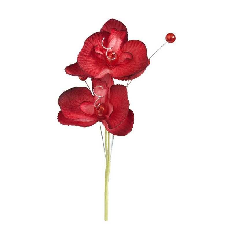 Double orchidées royales ivoire hauteur 12 cm - par 12 lots de 6