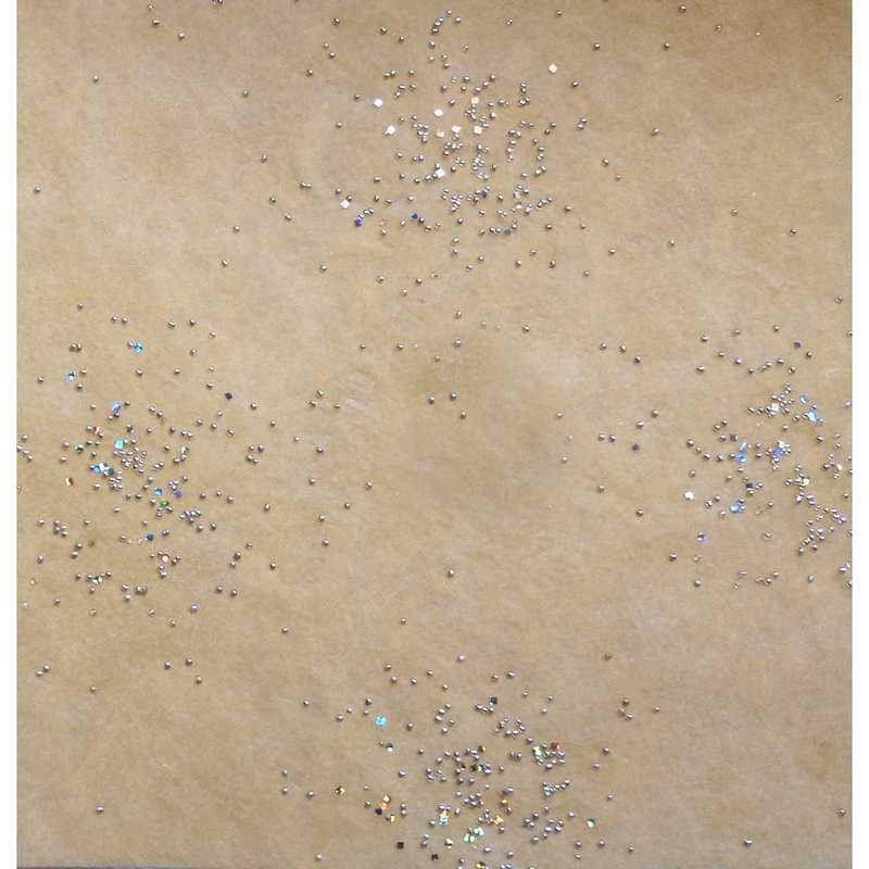 Chemin de table voie lactée mandarine avec perles argent 30 cm x 5  - par 10 lot