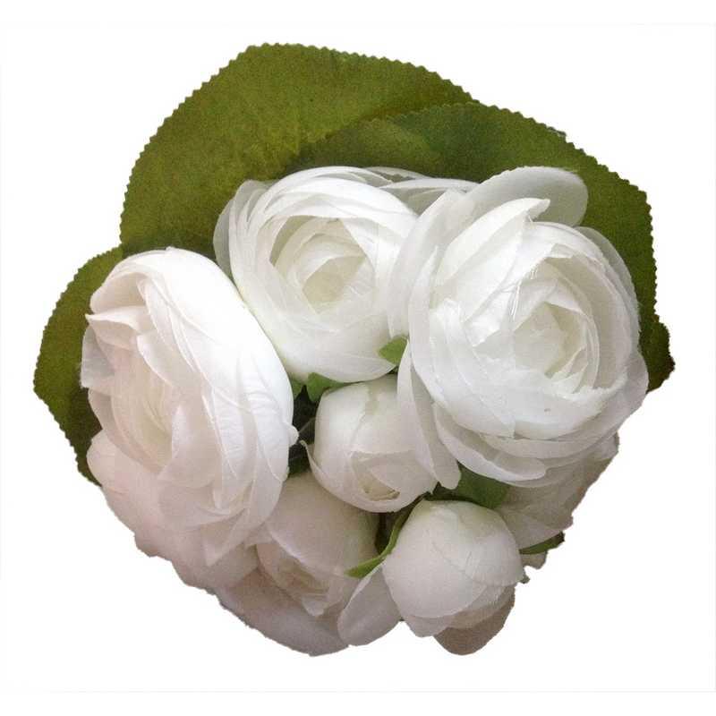 Bouquet de la mariée 12 pivoines blanc 22 cm - par 6 lots