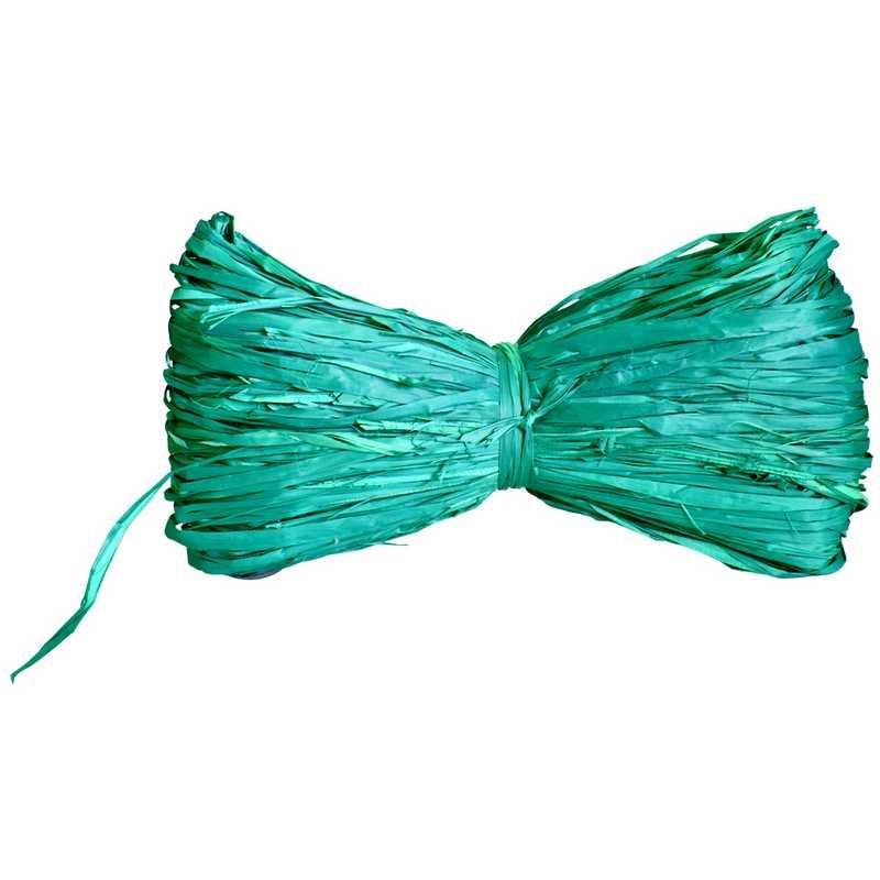 Raphia naturel turquoise 96 g env (6 rouleaux de 16 g) - par 6 lots