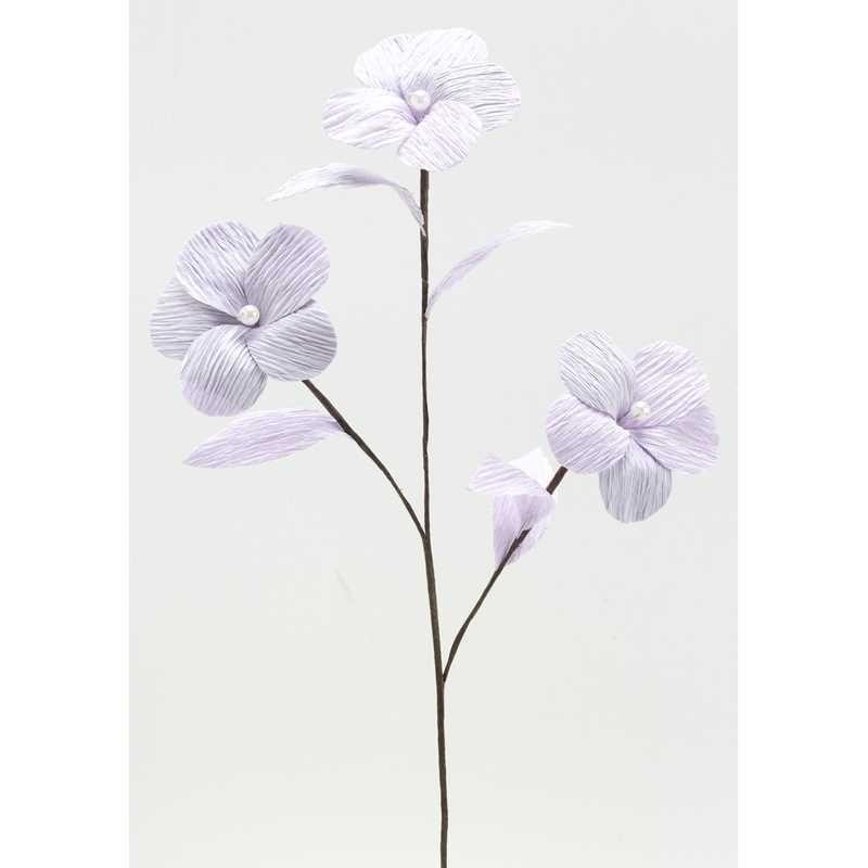 1 branchage de 3 grandes fleurs perlées lilasl 35 cm larg 10 cm (photo)