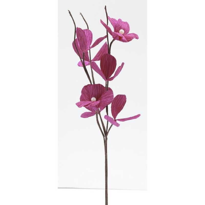 1 branchage de 3 grandes fleurs perlées fuchsia l 35 cm larg 10 cm (photo)