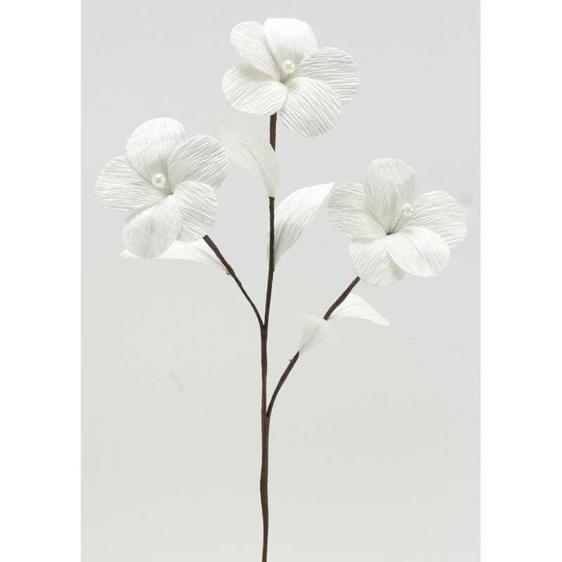 1 branchage de 3 grandes fleurs perlées ivoire l 35 cm larg 10 cm (photo)