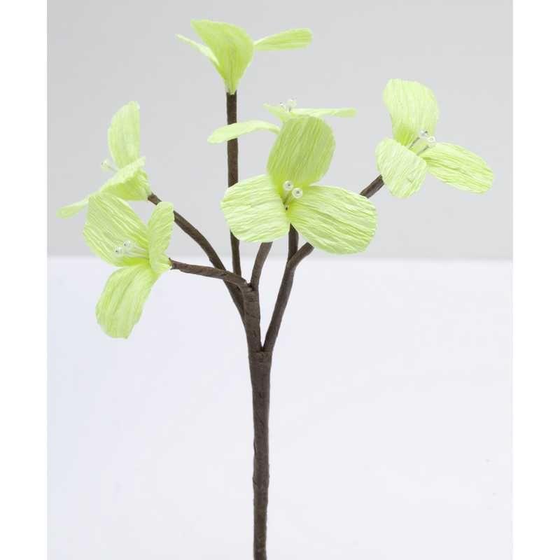 2 branchages de 6 petites fleurs perlées anis 16 x 7,5 cm (photo)