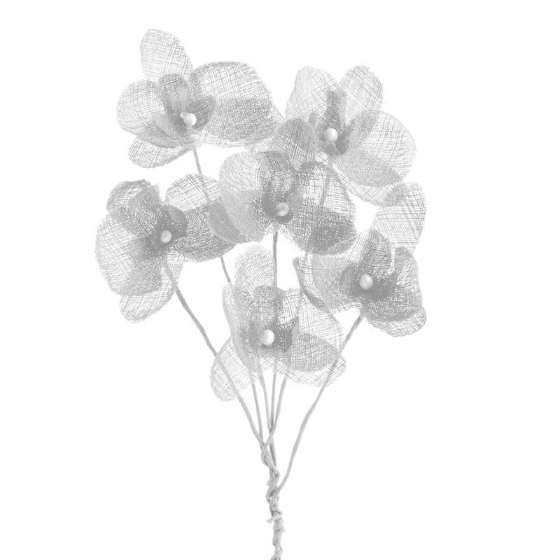 12 orchidées simples esprit lin 15 cm neige (photo)