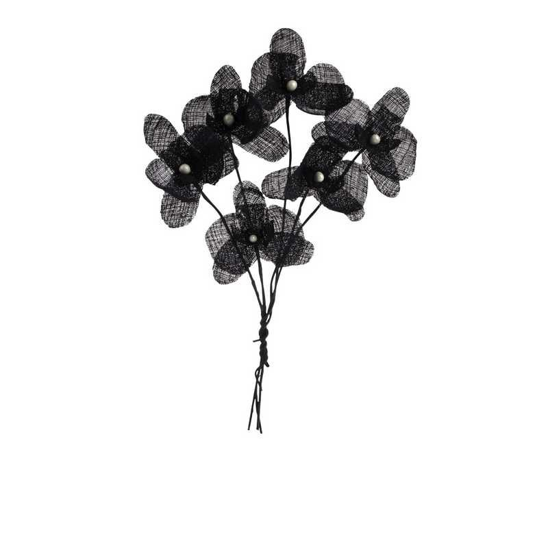 12 orchidées simples esprit lin 15 cm noir (photo)