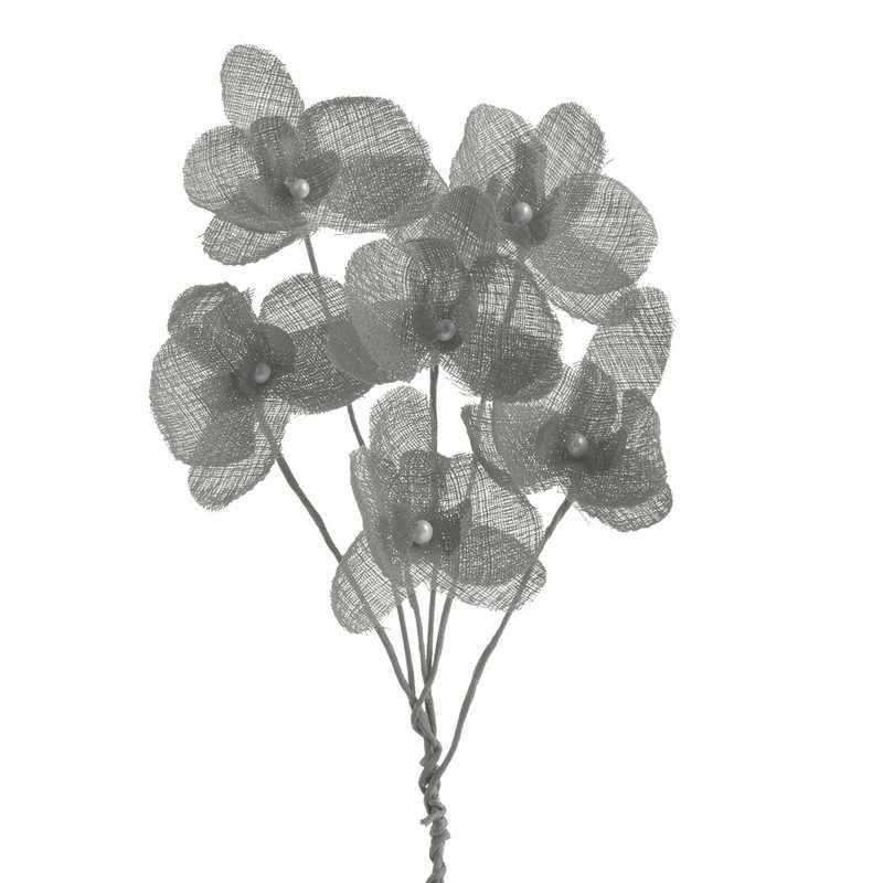 12 orchidées simples esprit lin 15 cm tourterelle (photo)