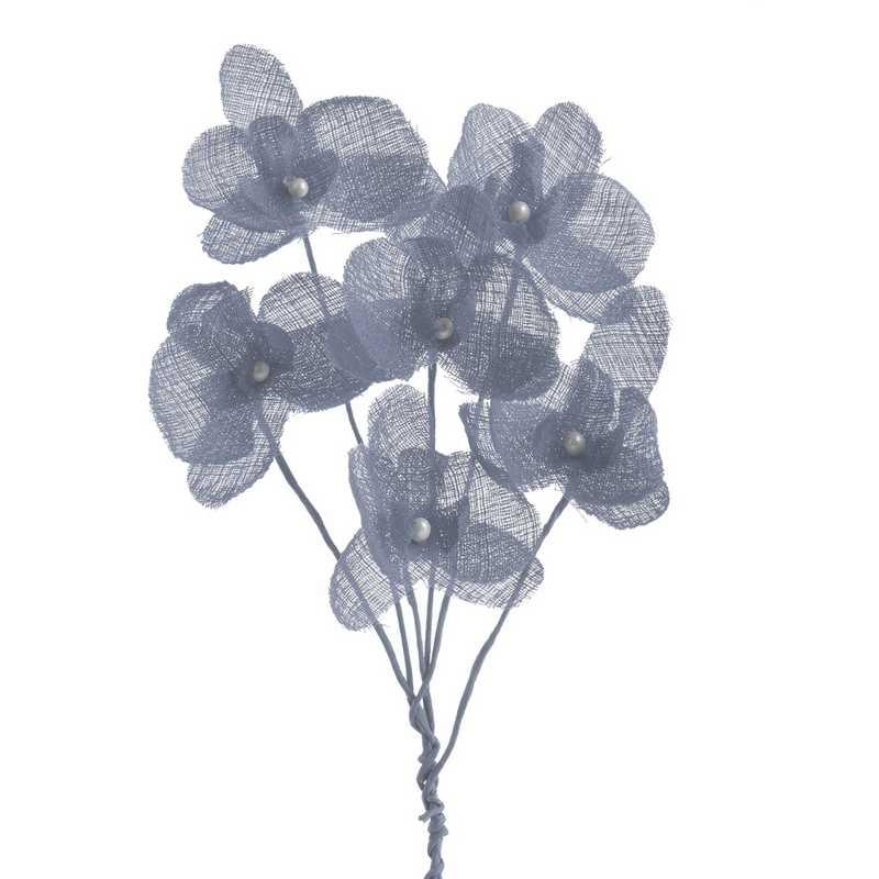 12 orchidées simples esprit lin 15 cm bleu nuage (photo)