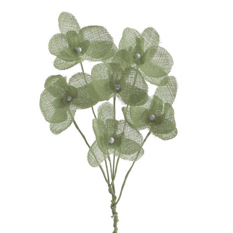12 orchidées simples esprit lin 15 cm vert jade (photo)