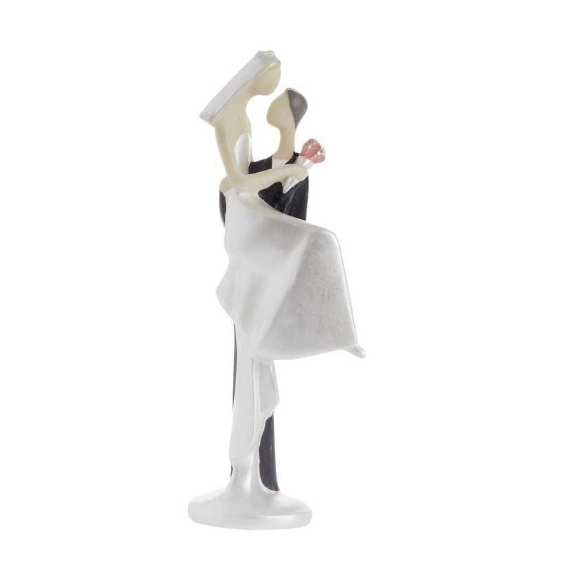 Couple de mariés design white calin 10,5 x 3.5 cm - par 6 lots de 1