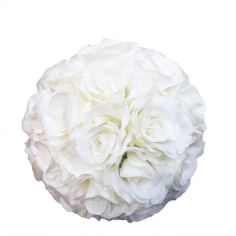 1 boule fleurie en tissu neige 20 cm (photo)