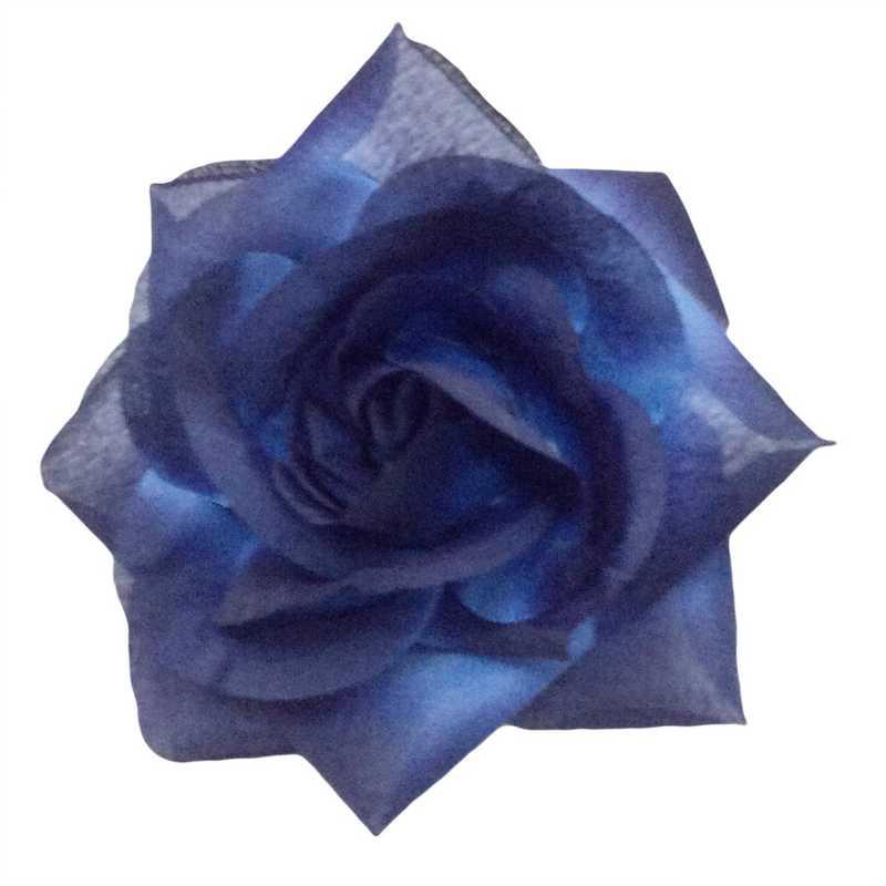 Boutons de rose tissu saphir 13 cm - par 6 lots de 6