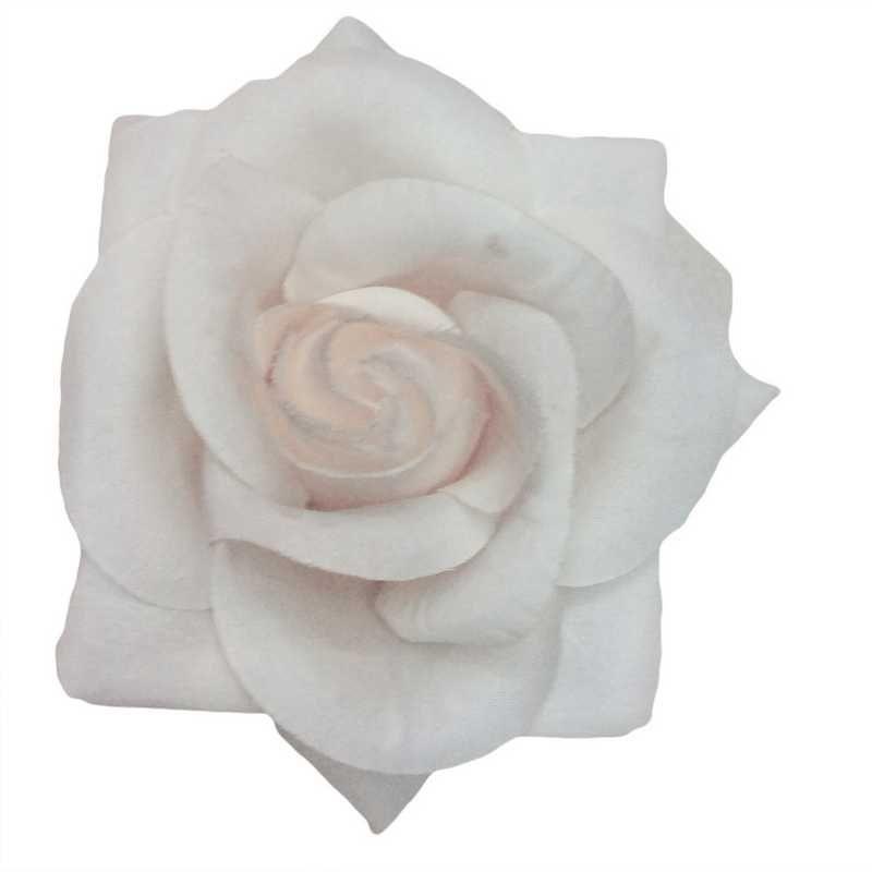 Boutons de rose tissu neige 13 cm - par 6 lots de 6