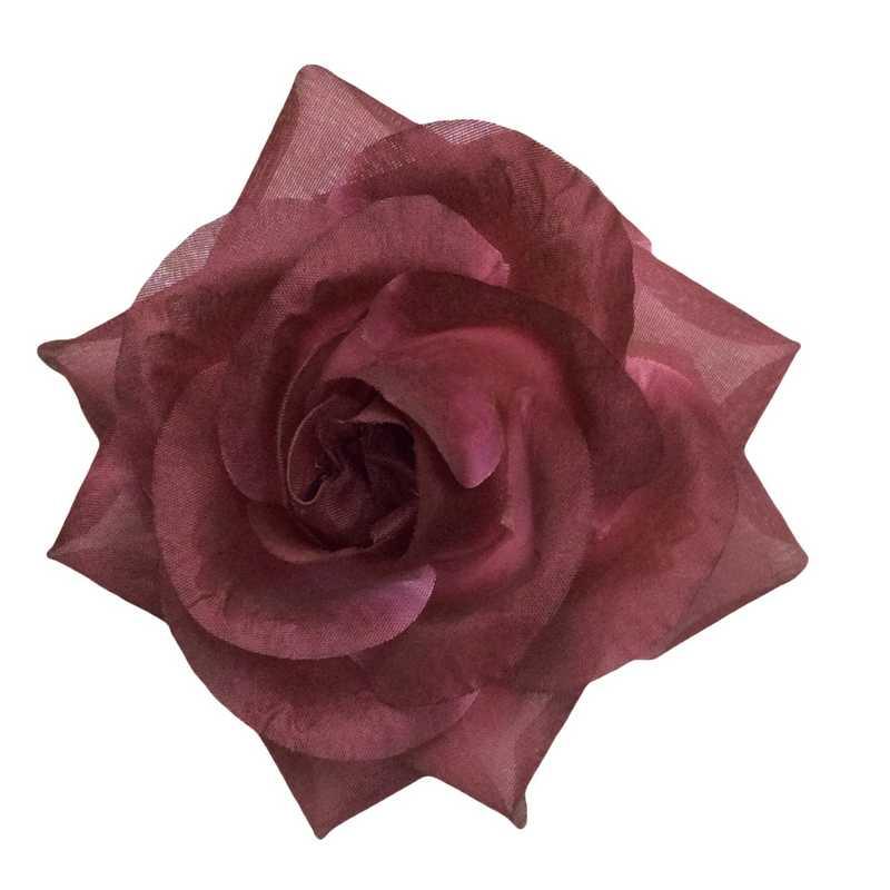 Boutons de rose tissu grenat 13 cm - par 6 lots de 6