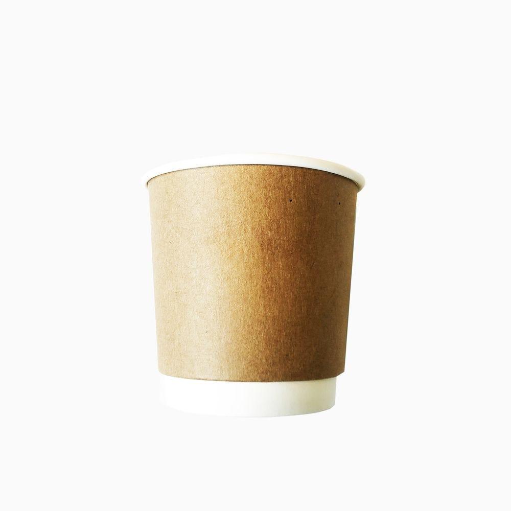 Gobelets double paroi compostable 12 cl kraft et blanc - par 5 lots de 25