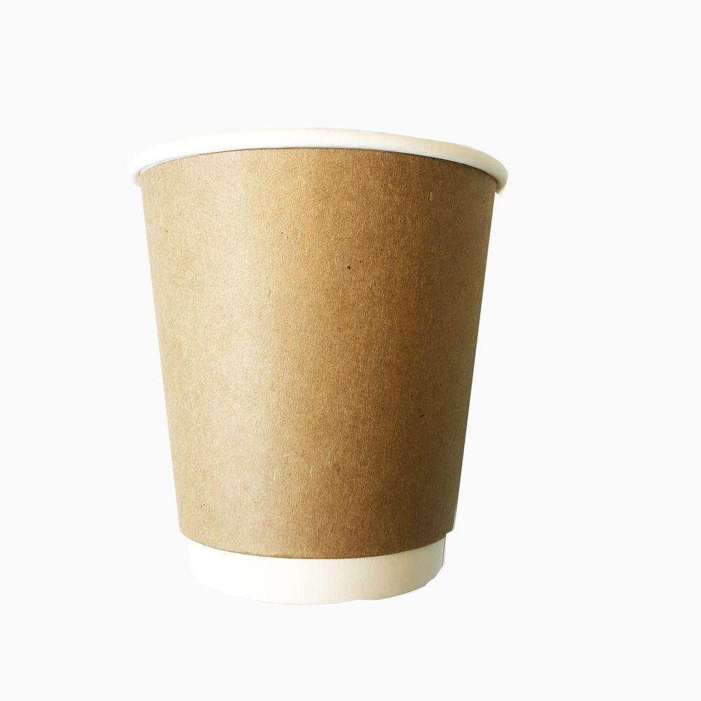 Gobelets double paroi compostable 24 cl kraft/blanc sans couvercle - par 5 lots