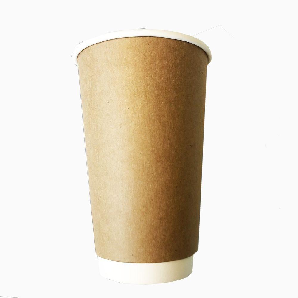 Gobelets double paroi compostable 48 cl kraft/blanc sans couvercle - par 5 lots