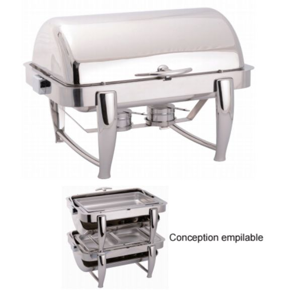 Chafing dish rectangulaire empilable à couvercle rabattable finition miroir poli (photo)