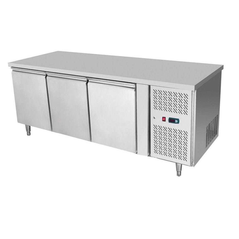Meuble de préparation température négative avec 3 portes monté sur pieds