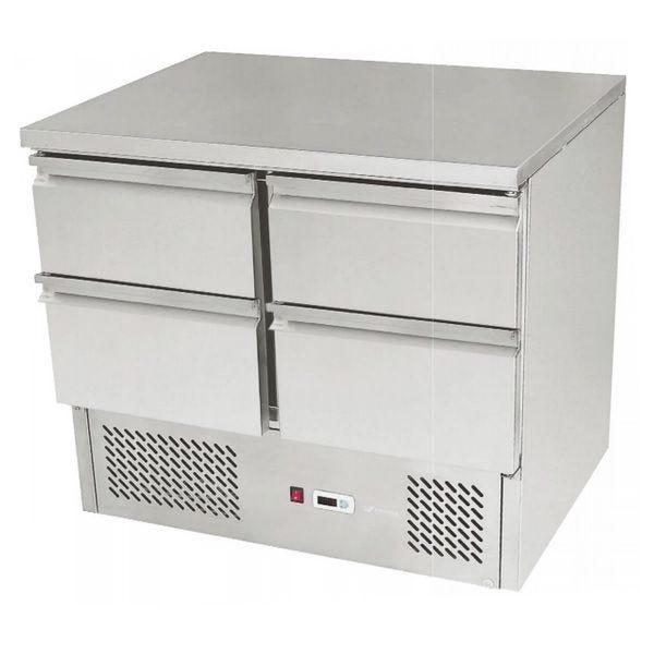 Meuble réfrigéré de préparation avec 4 tiroirs et moteur en dessous sur 4 roues