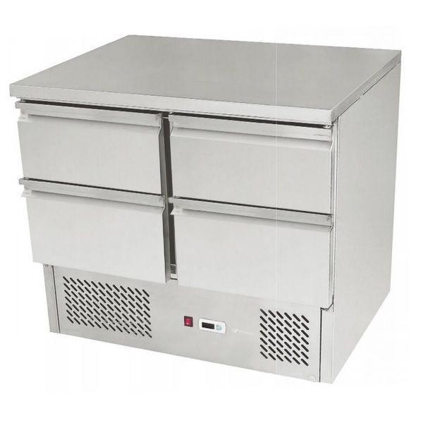Meuble réfrigéré de préparation avec 4 tiroirs et moteur en dessous sur 4 pieds