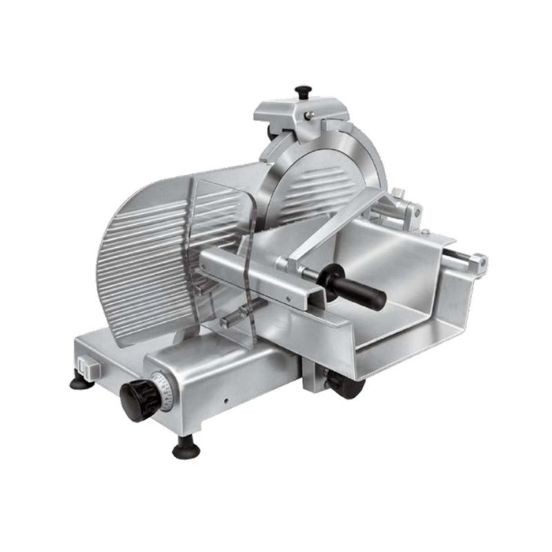Trancheur en aluminium anodisé avec plateau pour viande lame de diamètre 350 mm (photo)