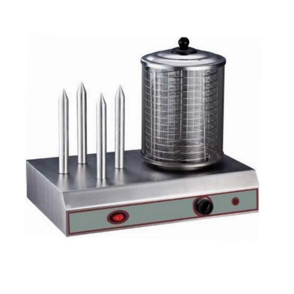 Machine à hot-dog avec un chauffe saucisses et 4 plots chauffe pain en aluminium (photo)