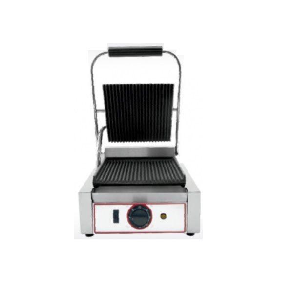 Grill à paninis électrique simple zone de cuisson avec plaques rainurées (photo)