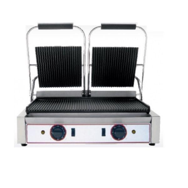 Grill à paninis électrique double zone de cuisson avec plaques rainurées (photo)