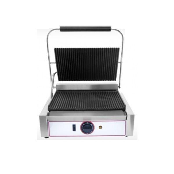 Grill à paninis électrique avec plaques en fonte rainurées - modèle moyen (photo)