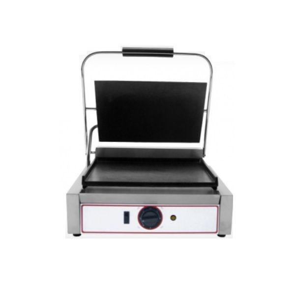 Grill à paninis électrique avec plaques en fonte lisses - modèle moyen (photo)