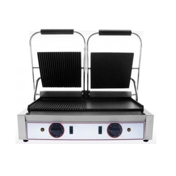 Grill paninis électrique double zone de cuisson avec plaques lisses et rainurées (photo)