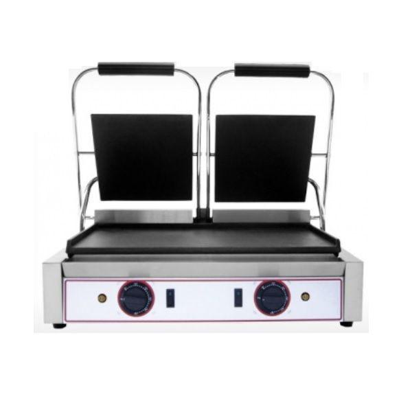 Grill à paninis électrique double zone de cuisson avec plaques lisses (photo)