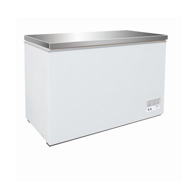 Congélateur bahut avec couvercle en inox capacité 390 litres (photo)