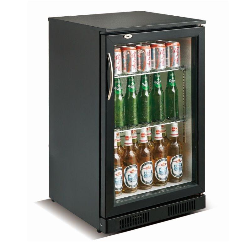 Arrière bar réfrigéré horizontal à 1 porte vitrée battante coloris noir (photo)