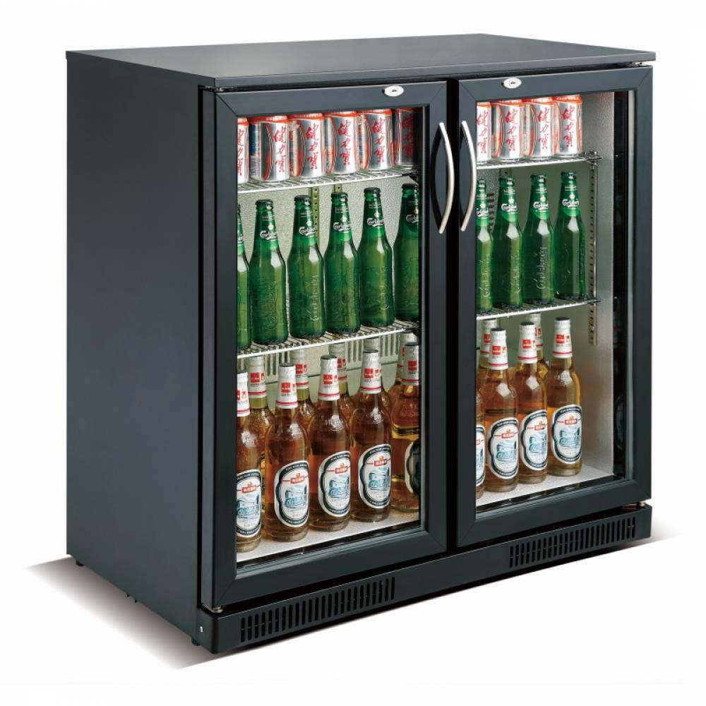 Arrière bar réfrigéré horizontal à 2 portes vitrées battantes coloris noir (photo)