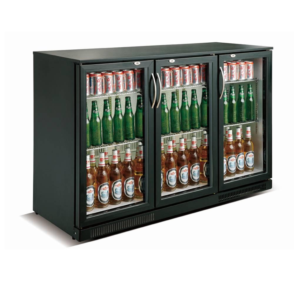 Arrière bar réfrigéré horizontal à 3 portes vitrées battantes coloris noir (photo)
