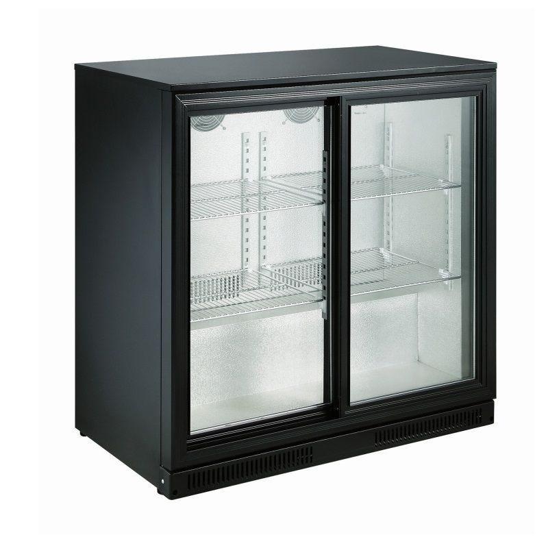 Arrière bar réfrigéré horizontal à 2 portes vitrées coulissantes coloris noir (photo)