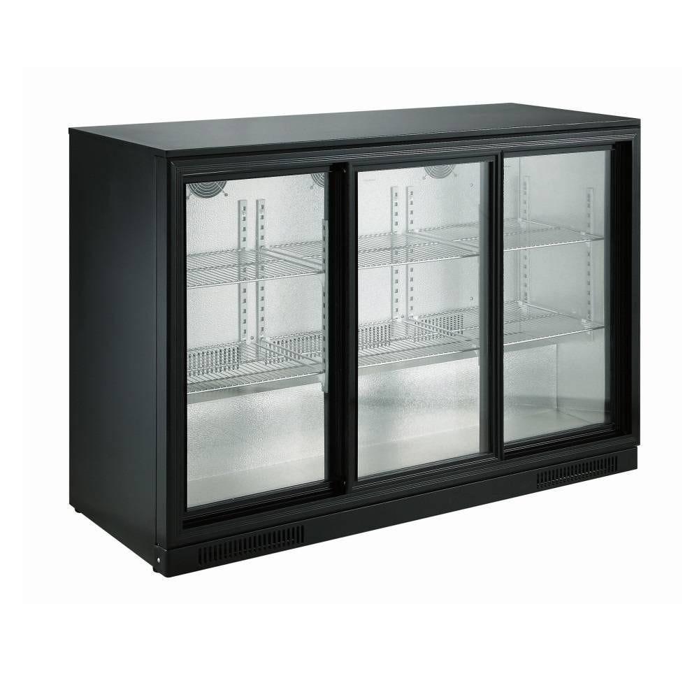 Arrière bar réfrigéré horizontal à 3 portes vitrées coulissantes coloris noir (photo)