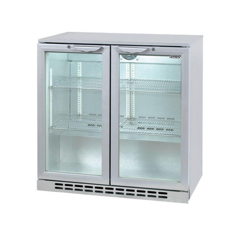 Arrière bar réfrigéré horizontal à 2 portes vitrées battantes coloris silver (photo)